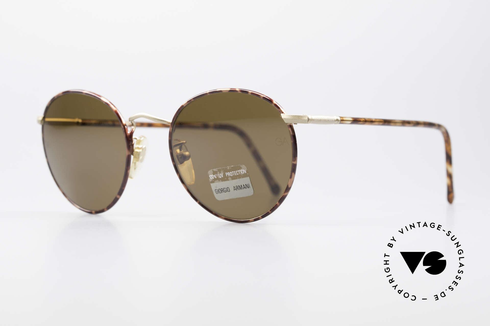Giorgio Armani 639 No Retro Panto Sunglasses, TOP craftsmanship & timeless tortoise/gold coloring, Made for Men and Women