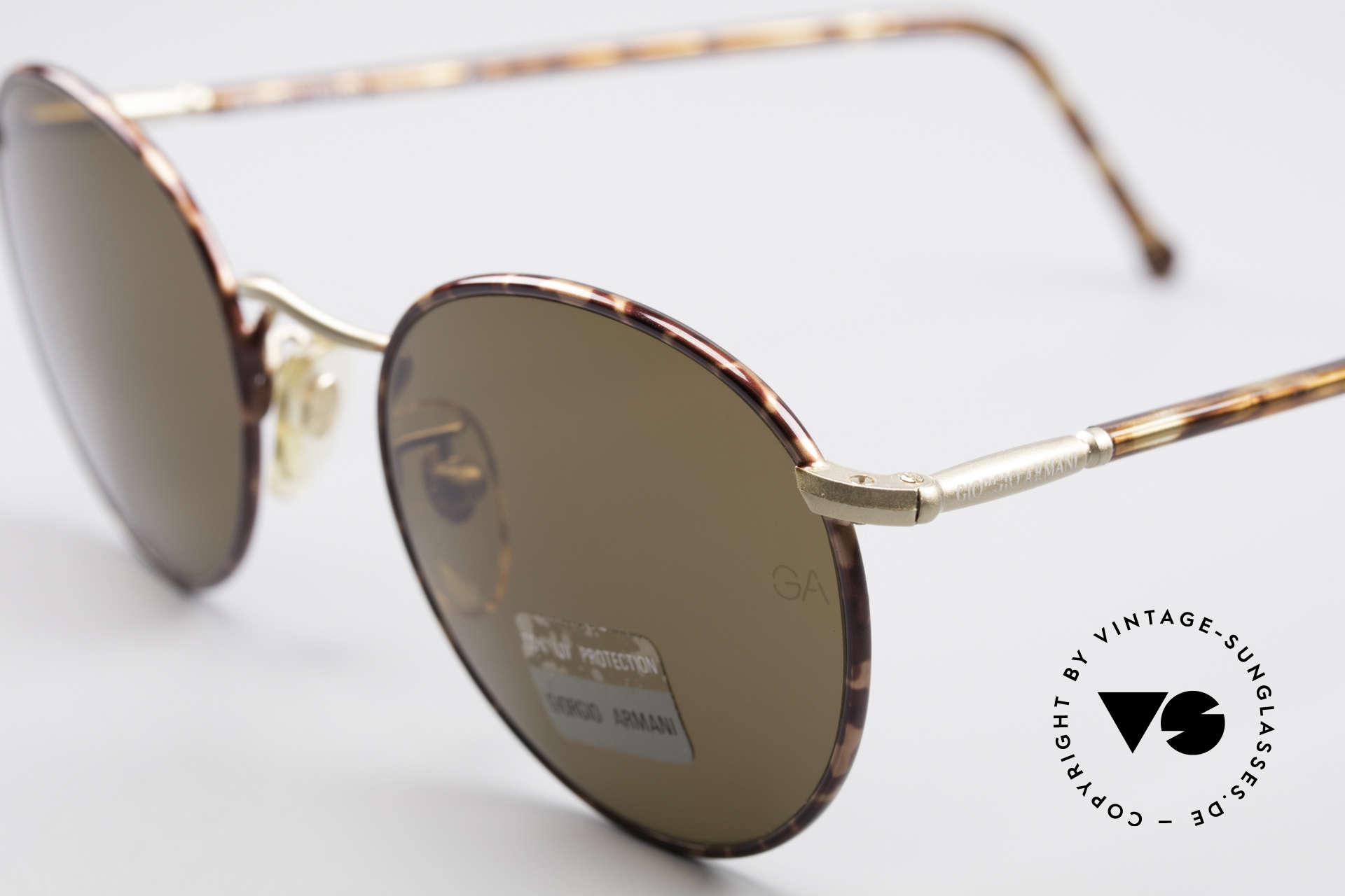 Giorgio Armani 639 No Retro Panto Sunglasses, high-end mineral lenses (100% UV) with GA engraving, Made for Men and Women