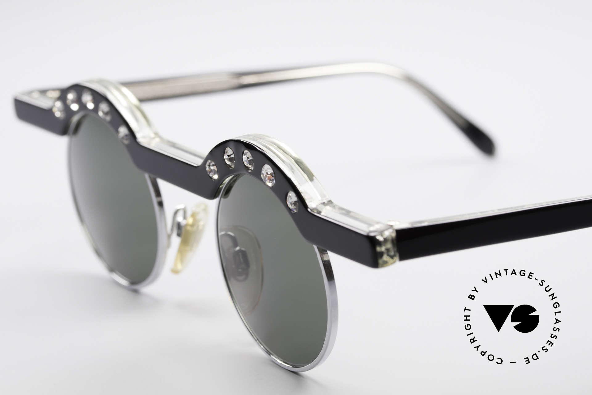 Theo Belgium Revoir Rare Round Gem Sunglasses, brilliant round design with ten glittering rhinestones, Made for Women