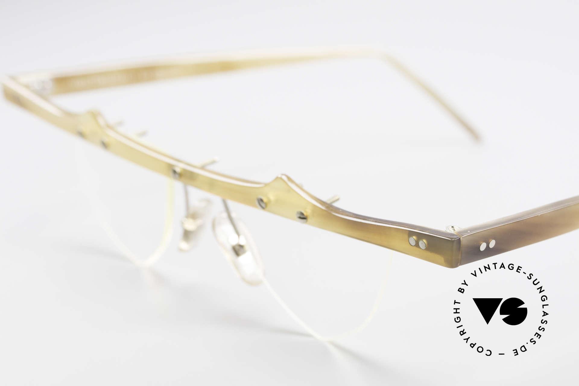 Theo Belgium Eta Heart Glasses Buffalo Horn, 'ETA' model was made with heart-shaped DEMO lenses, Made for Women