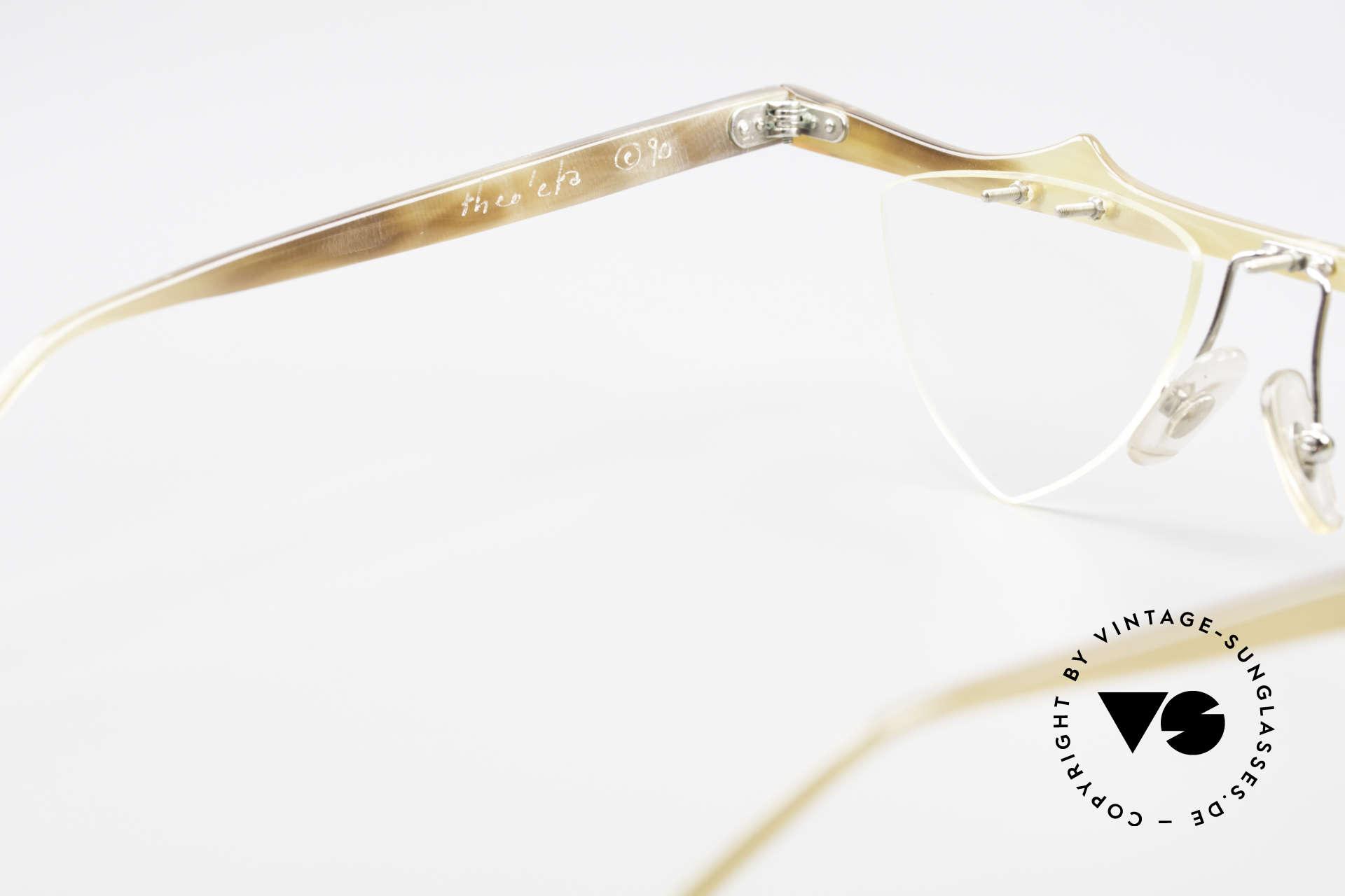 Theo Belgium Eta Heart Glasses Buffalo Horn, Size: large, Made for Women