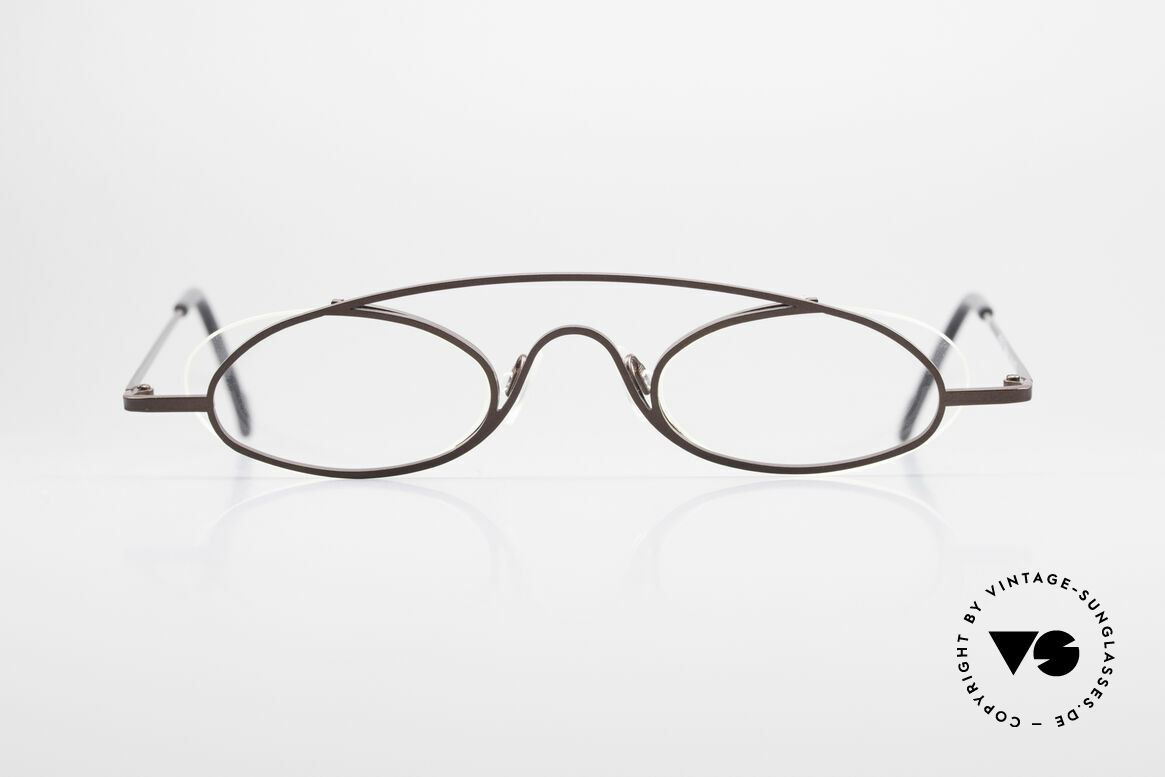 "Theo Belgium Hababa Rimless Rimmed Frame Oval, fancy model: ""rimless"" & ""rimmed"" at the same time, Made for Men and Women"