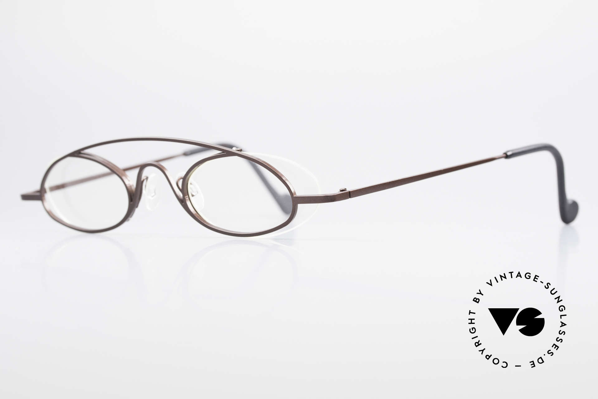 Theo Belgium Hababa Rimless Rimmed Frame Oval, lenses are fixed with a nylor thread (on the backside), Made for Men and Women