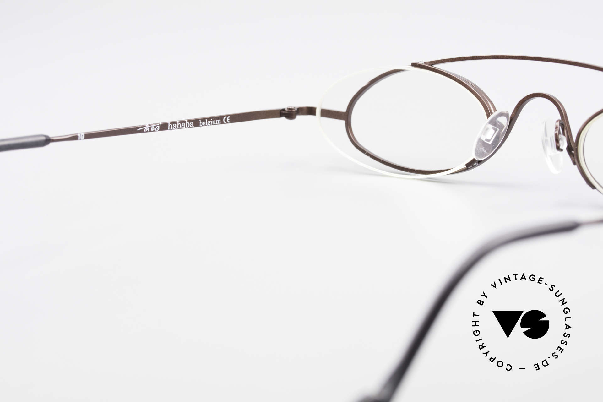 Theo Belgium Hababa Rimless Rimmed Frame Oval, NO RETRO frame; but a rare 20 years old ORIGINAL, Made for Men and Women