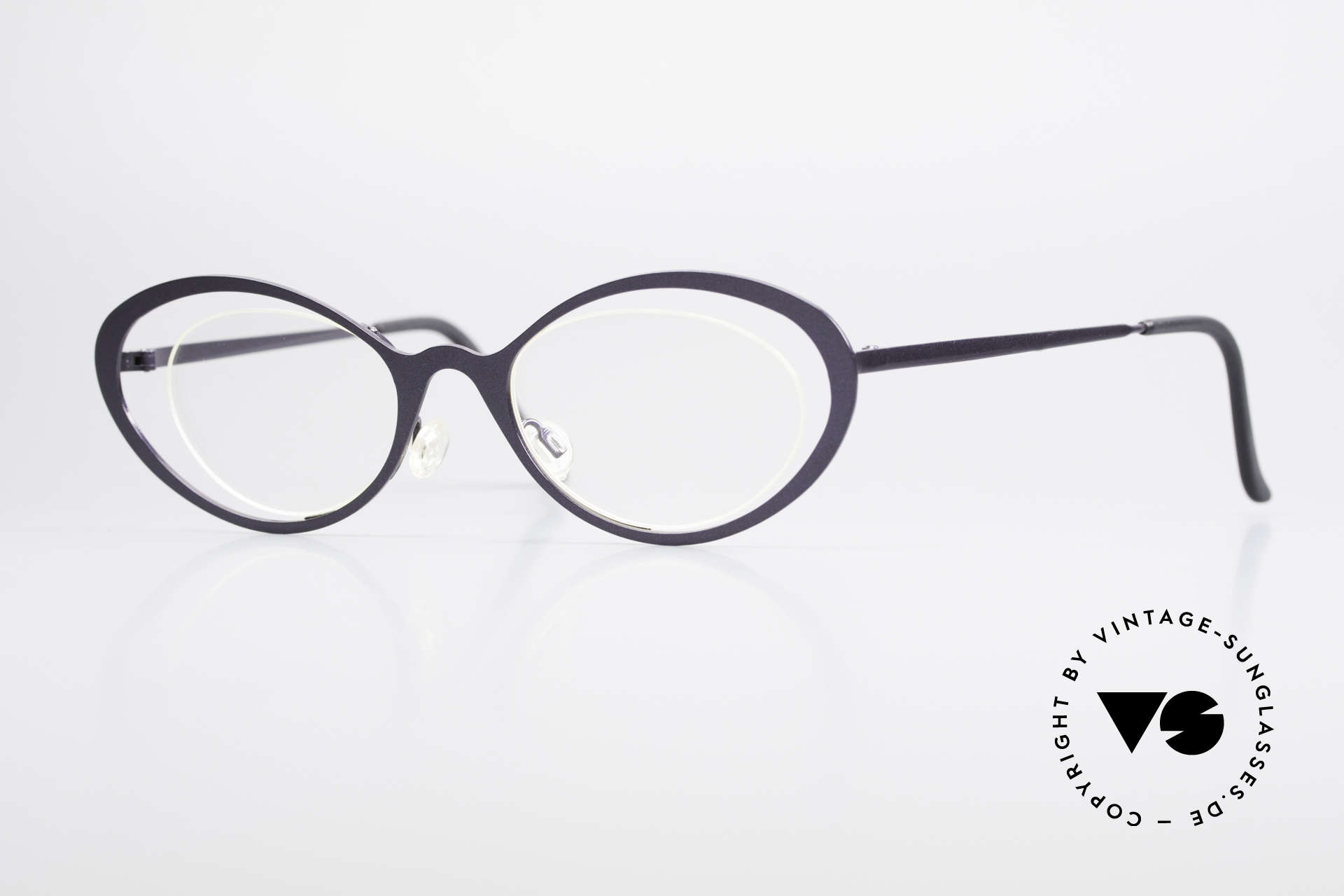 Theo Belgium LuLu Rimless Cateye Glasses 90's, vintage THEO Belgium eyeglass-frame from app. 1997, Made for Women