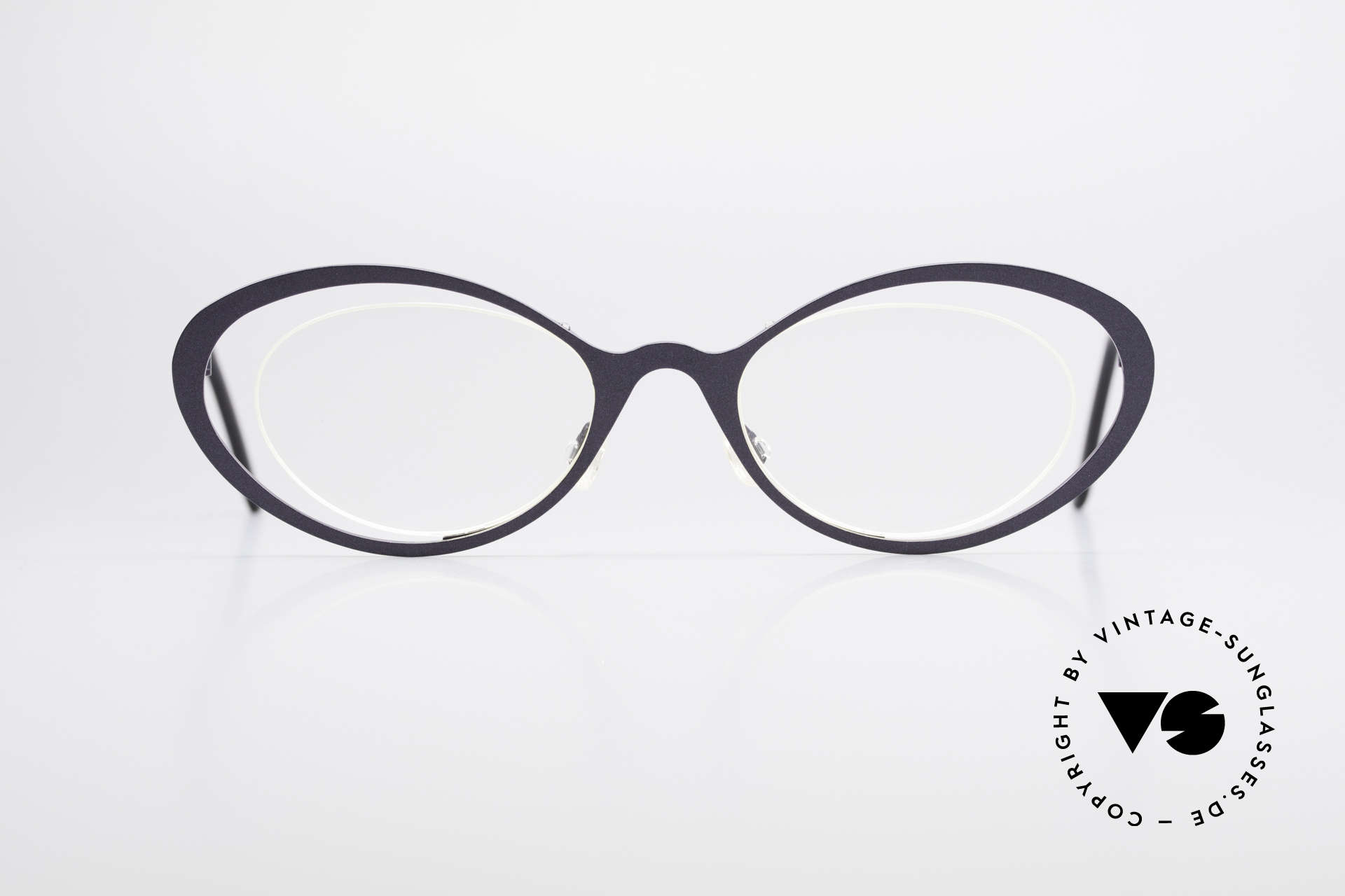"Theo Belgium LuLu Rimless Cateye Glasses 90's, fancy model: ""rimless"" & ""rimmed"" at the same time, Made for Women"