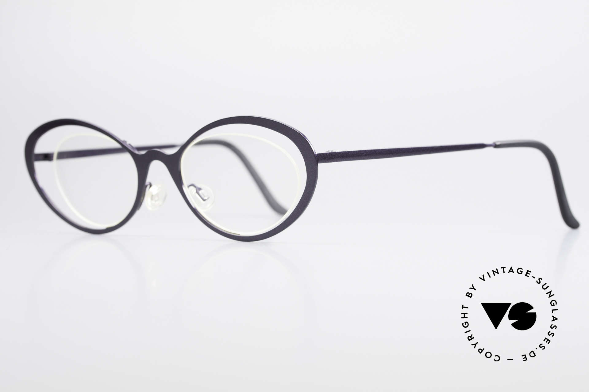 Theo Belgium LuLu Rimless Cateye Glasses 90's, lenses are fixed with a nylor thread (Cat's eye style), Made for Women