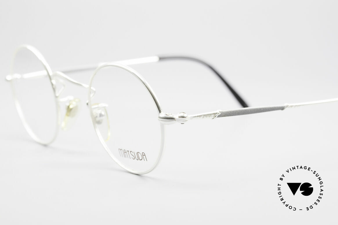 Matsuda 2872 90's Designer Glasses Round, costly 'design elements' decorate the frame (size 44-24), Made for Men and Women