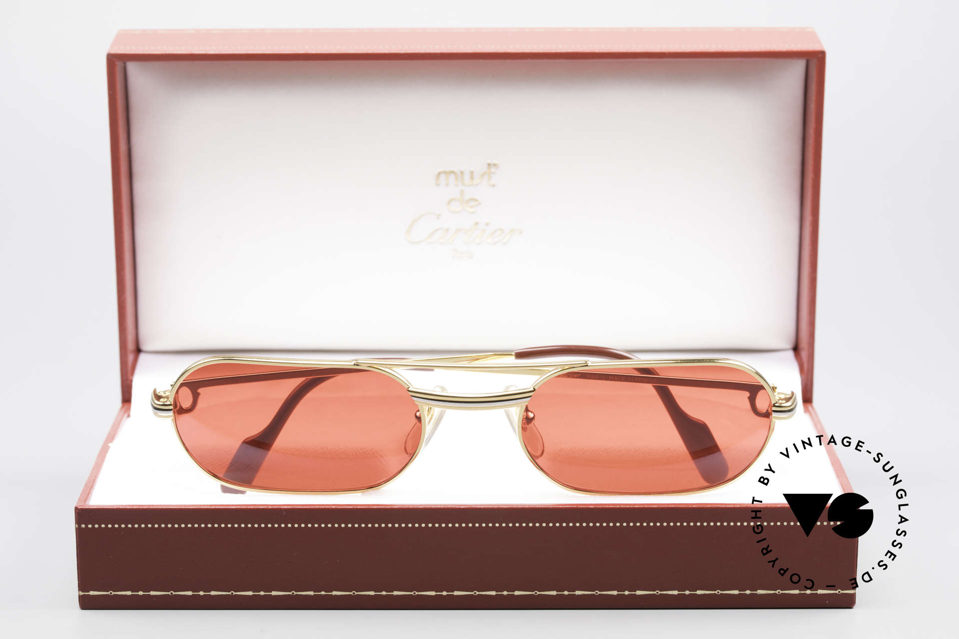 """Cartier MUST LC - M 3D Red Luxury Sunglasses, the red """"FUN"""" sun lenses can be replaced optionally!, Made for Men"""