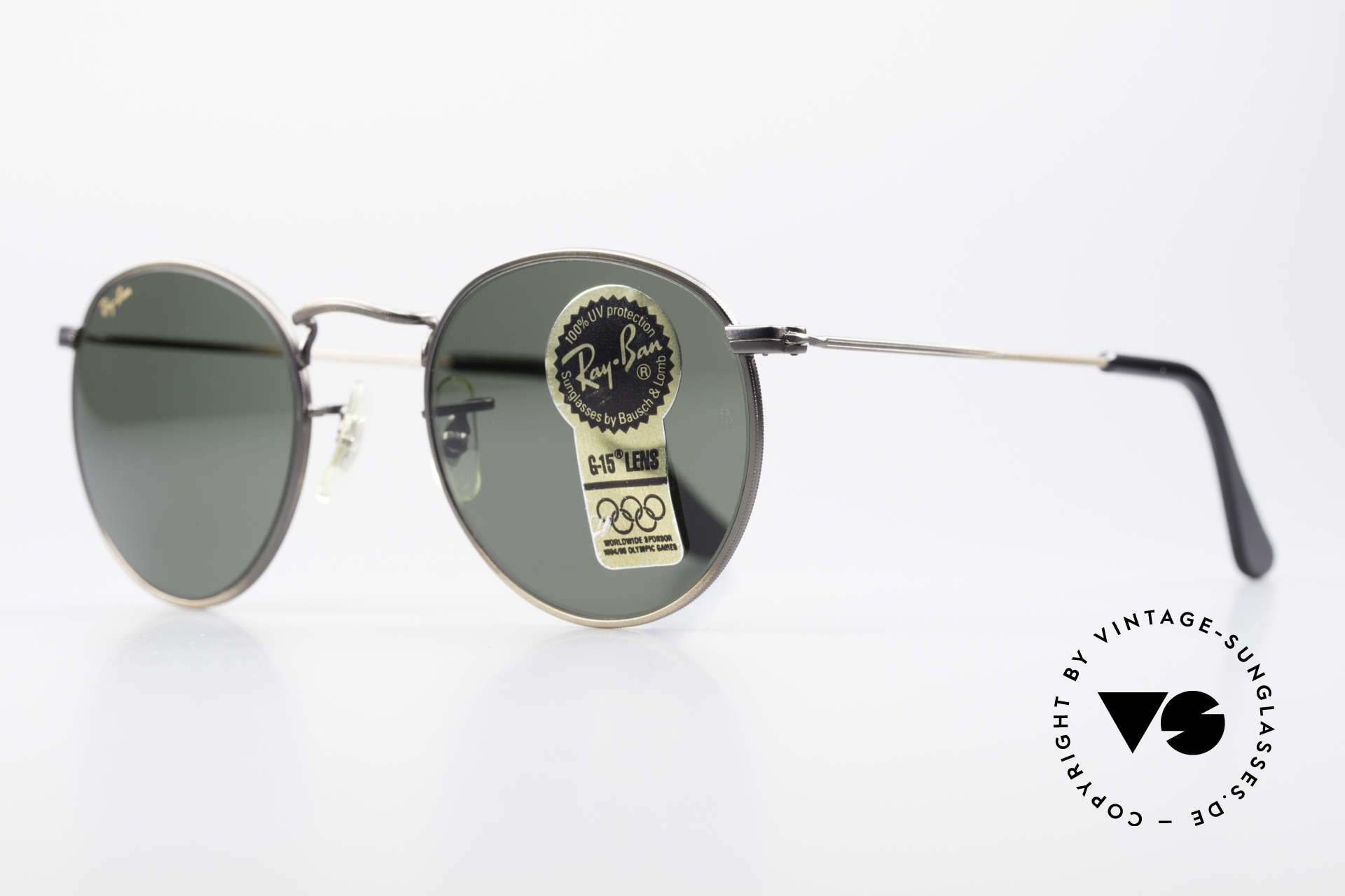 Ray Ban Round Metal 47 Small Round Vintage Shades, legendary B&L mineral lenses (100% UV protection), Made for Men and Women