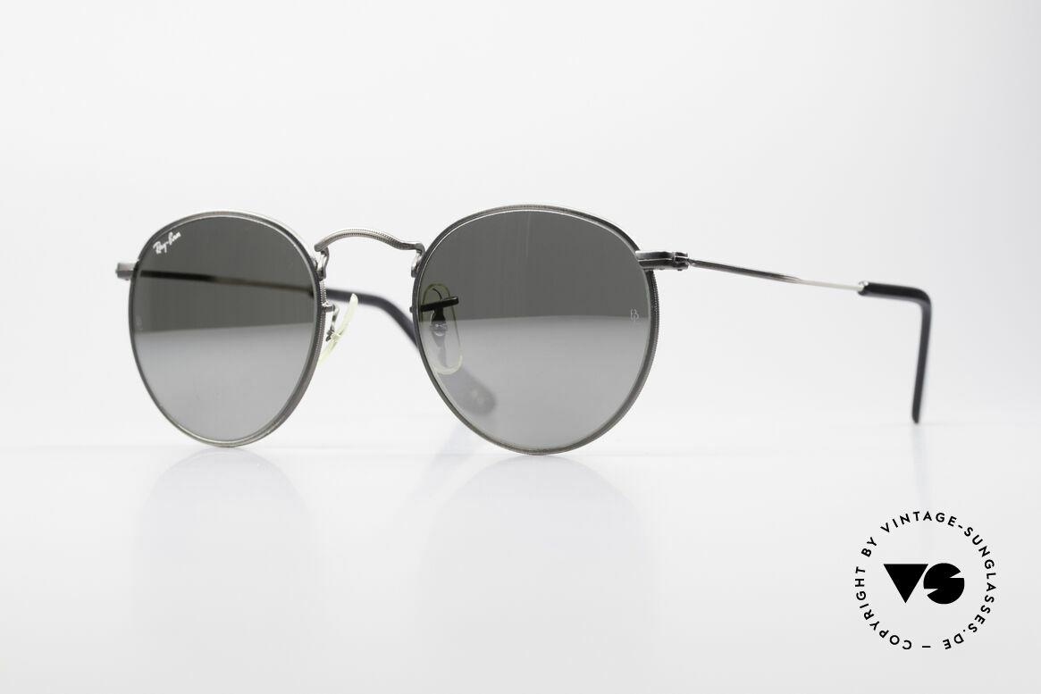 Ray Ban Round Metal 47 Mirrored B&L USA Sunglasses, small round 1980's Ray-Ban B&L vintage sunglasses, Made for Men and Women