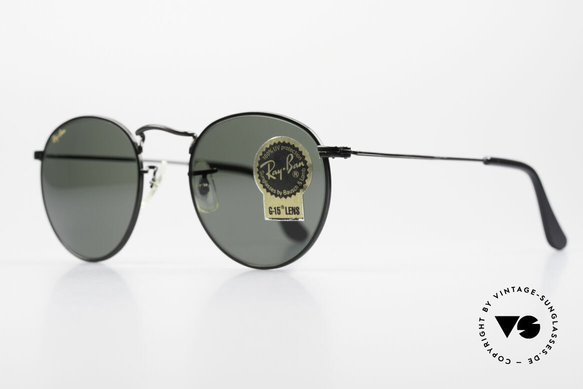 Ray Ban Round Metal 47 Small Round USA Sunglasses, legendary B&L mineral lenses (100% UV protection), Made for Men and Women