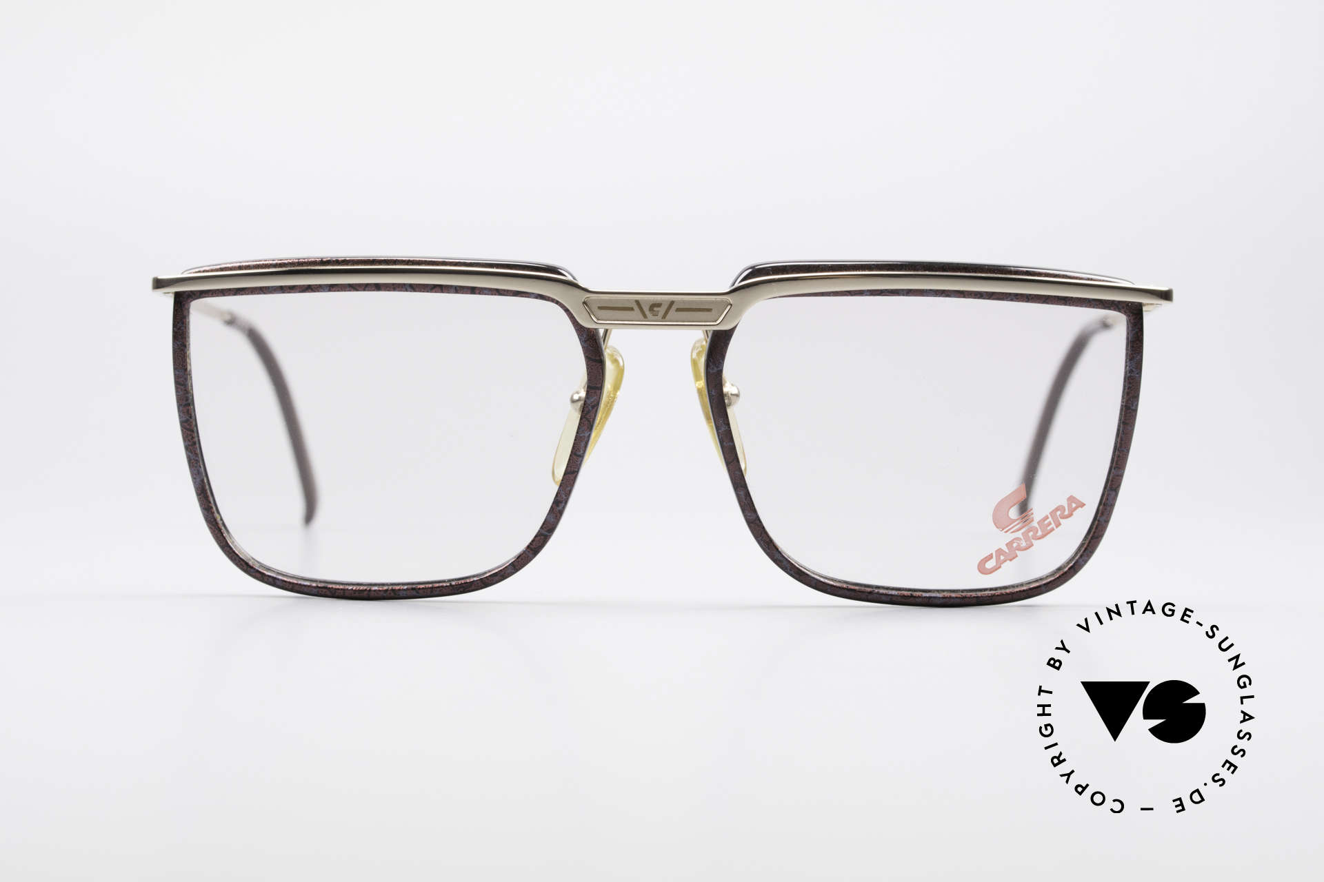 Carrera 5376 Square Vintage Carbon Frame, gold-plated frame with CARBON lens mounting, Made for Men