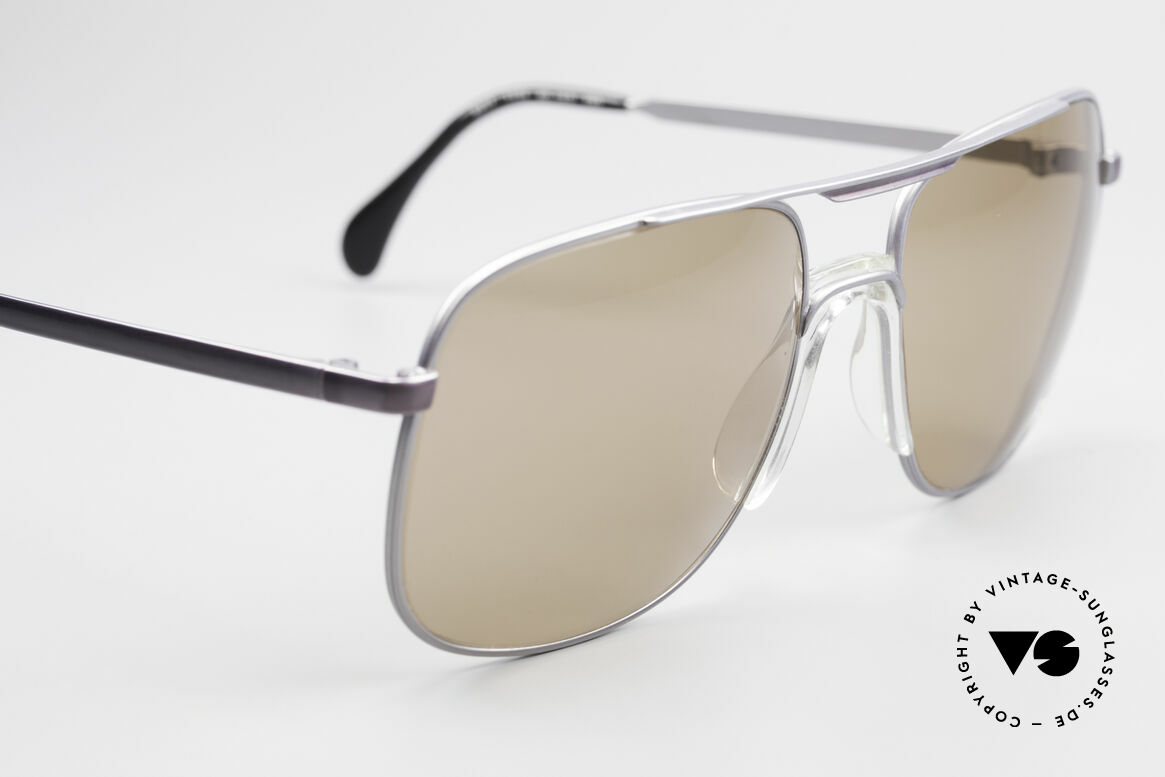 Zeiss 9311 Mineral Lenses 80s Sunglasses, silver finished metal frame with a subtle purple sheen, Made for Men