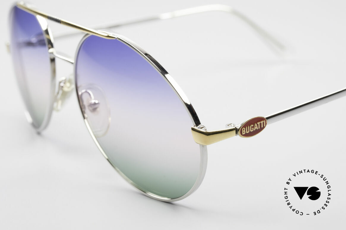 Bugatti 65982 Rare Vintage 80's Sunglasses, silver finish with tricolored gradient lenses!, Made for Men