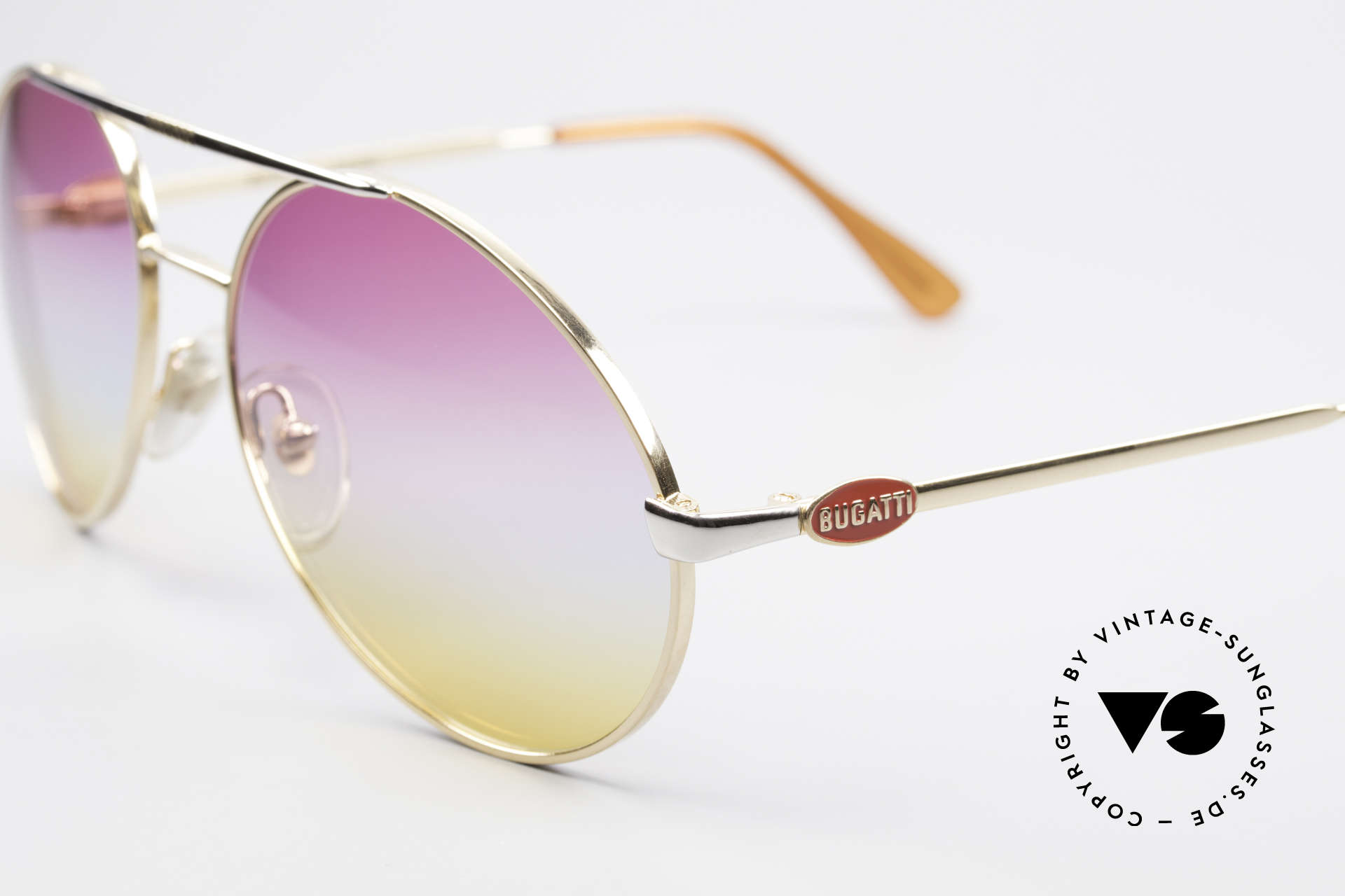 Bugatti 64320 Rare 80's Sunglasses Vintage, golden finish with tricolored gradient lenses, Made for Men