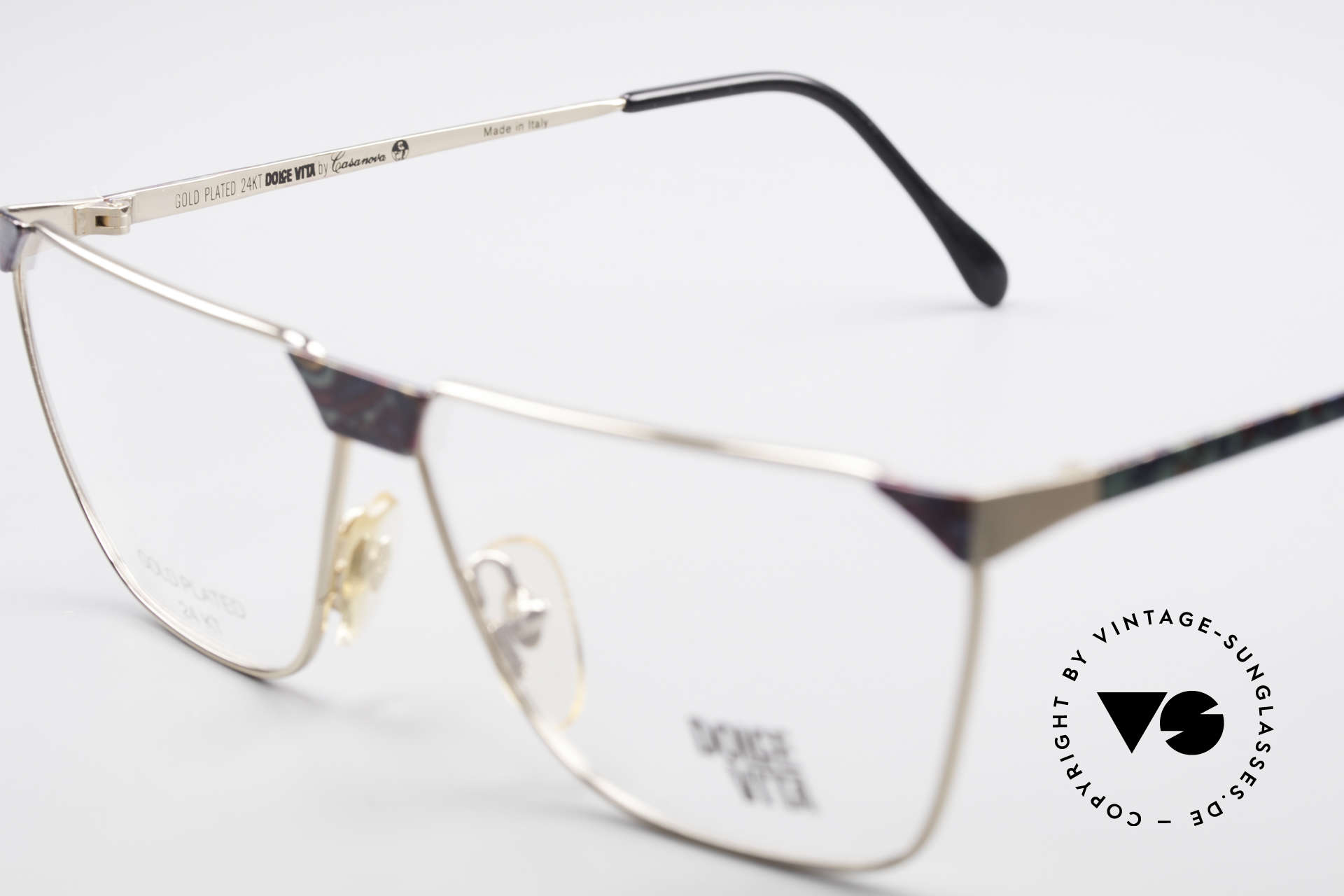 Casanova NM22 Dolce Vita 24kt Eyeglasses, NOS - unworn (like all our vintage Casanova frames), Made for Men and Women