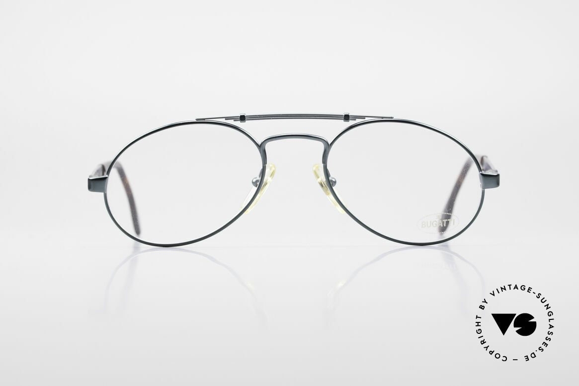 Bugatti 16918 Luxury 80's Eyeglass-Frame, great design with noble 'blue-green' metallic finish, Made for Men