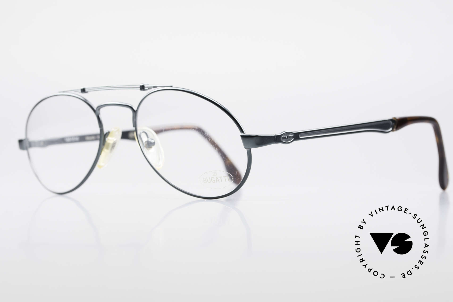 Bugatti 16918 Luxury 80's Eyeglass-Frame, frame (brow bar) is shaped like an old leaf spring, Made for Men