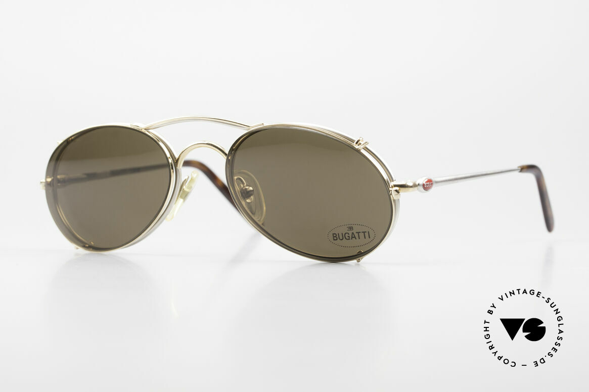 Bugatti 23439 Vintage Glasses With Clip On, very elegant vintage Bugatti designer eyeglasses, Made for Men