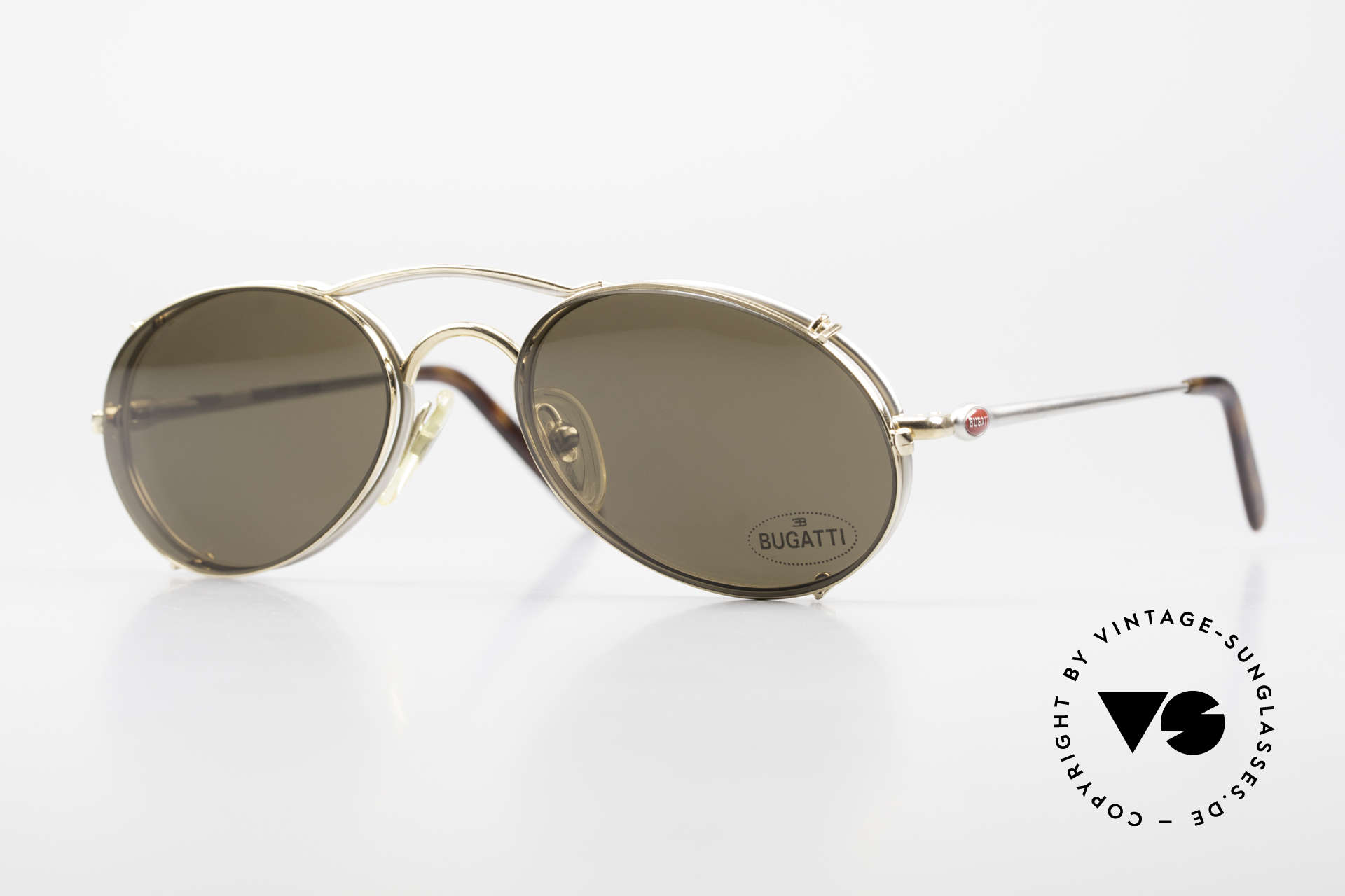 Bugatti 23439 Vintage Glasses With Clip On, unworn (like all our rare vintage Bugatti eyewear), Made for Men