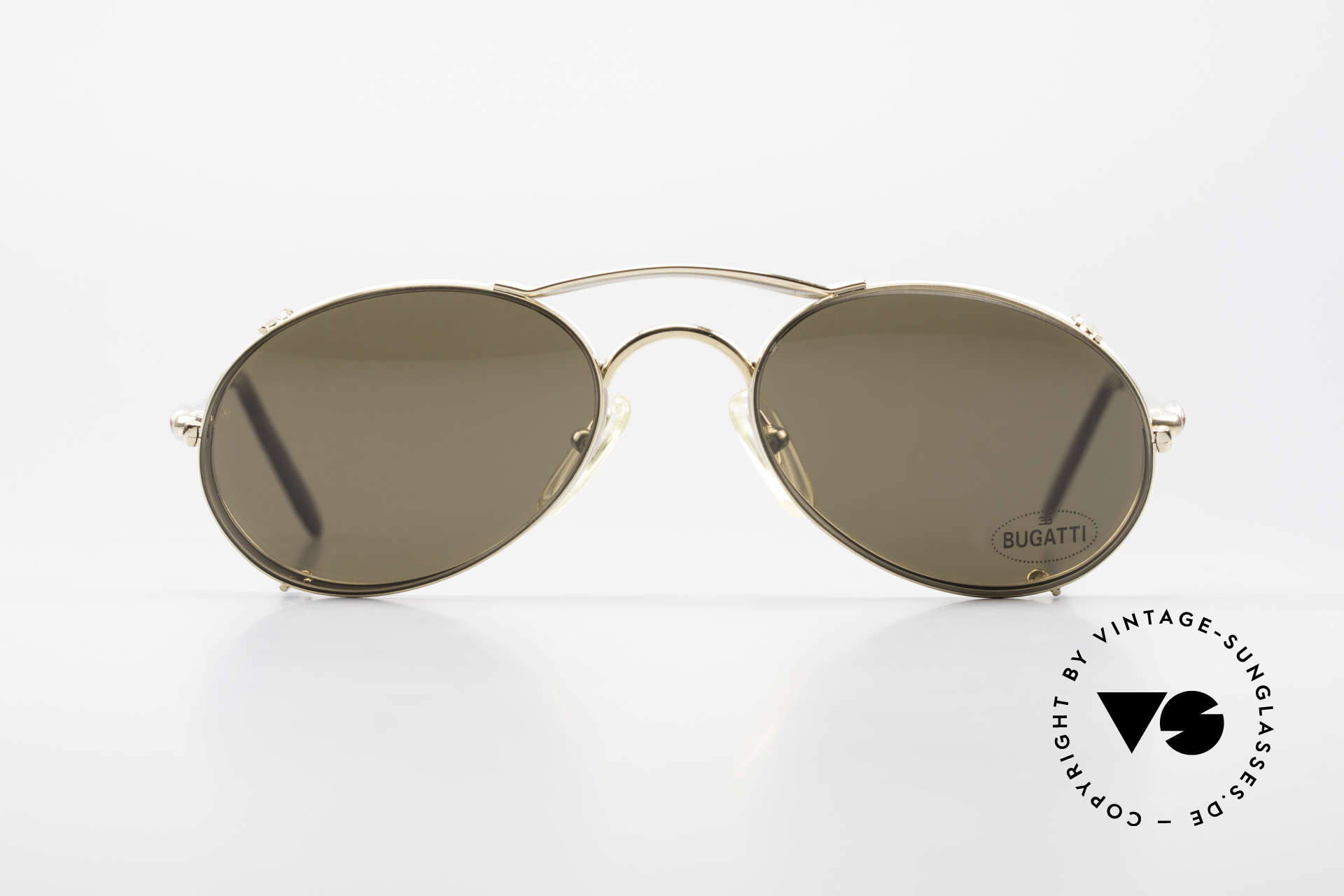 Bugatti 23439 Vintage Glasses With Clip On, 1st class comfort thanks to flexible spring temples, Made for Men
