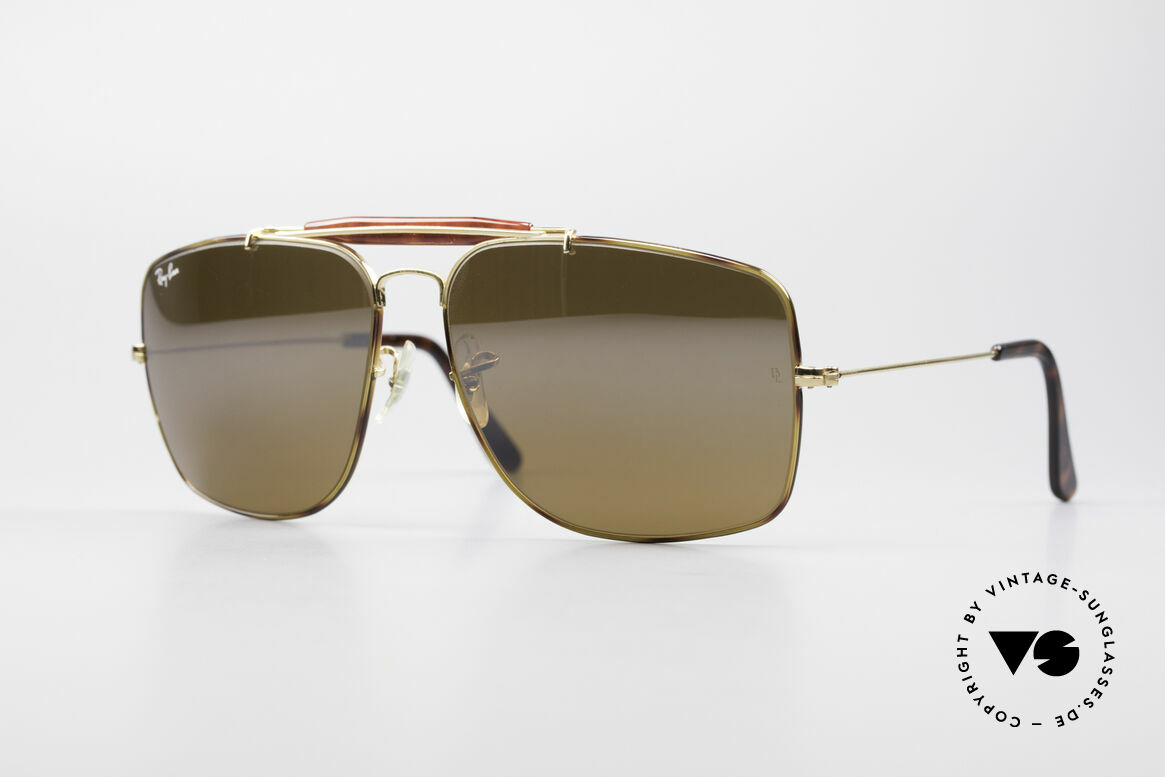 Ray Ban Explorer Large Tortuga Frame Brown Mirrored, old 80's Ray-Ban USA B&L vintage sunglasses, Made for Men
