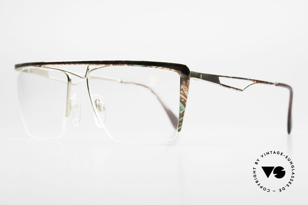 Neostyle Jet 201 Vintage 80's Nylor Frame, premium finish: brown-green marbled patterned, Made for Men and Women