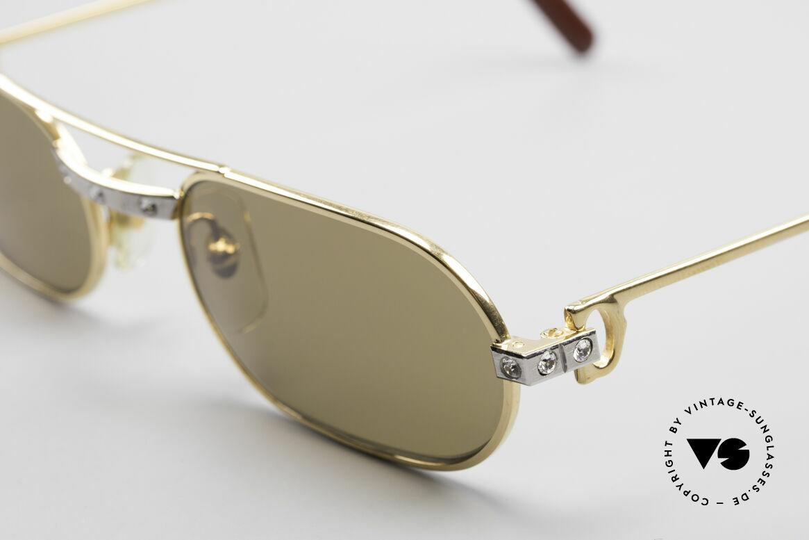 Cartier Must Santos - S Customized Crystal Edition, one of a kind, 22ct gold-plated frame; in S size 53/20, 130, Made for Men and Women
