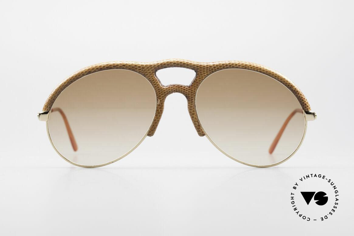 Bugatti 64738 70's Leather Sunglasses Lizard