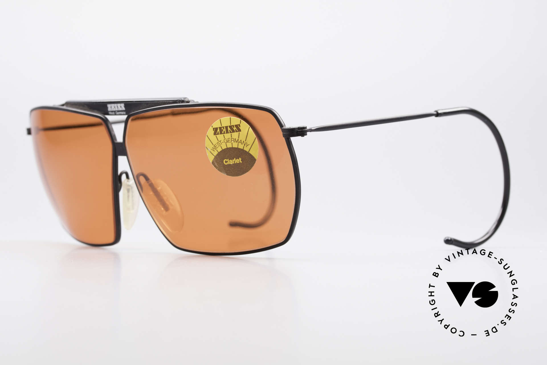 "Zeiss 9909 XL Vintage Sunglasses Sport, with brilliant sun lenses in a kind of ""salmon orange"", Made for Men"