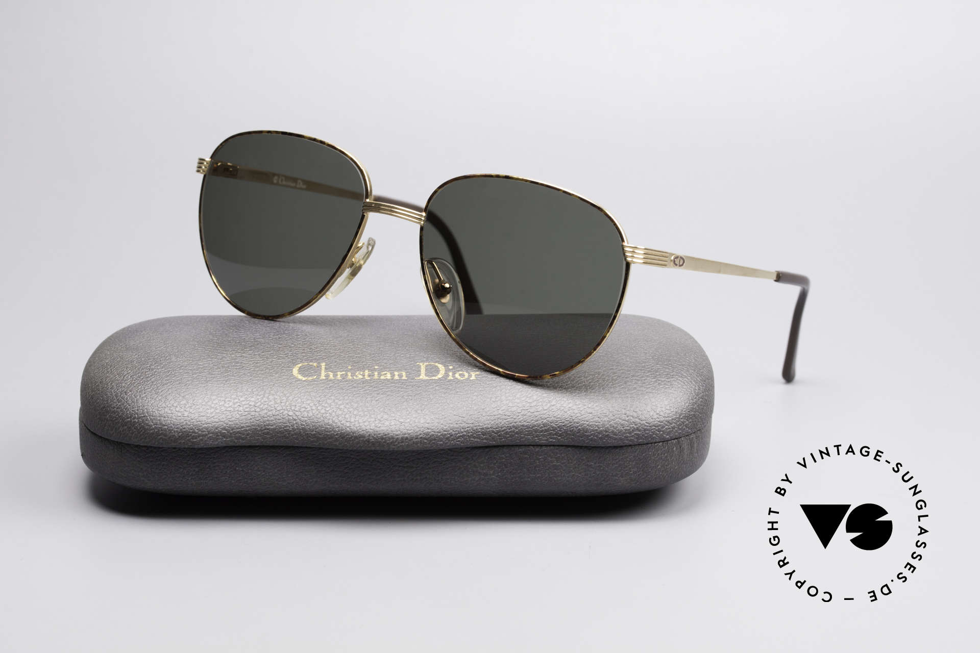 Christian Dior 2754 Round Panto Vintage Shades, dark green CR39 sun lenses for 100% UV protection, Made for Men and Women