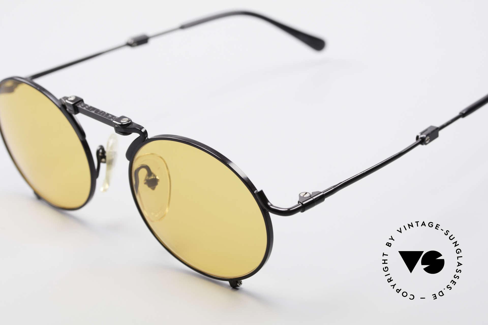 Jean Paul Gaultier 56-9171 90's Vintage Folding Sunglasses, black frame with ORANGE sun lenses (100% UV), Made for Men and Women