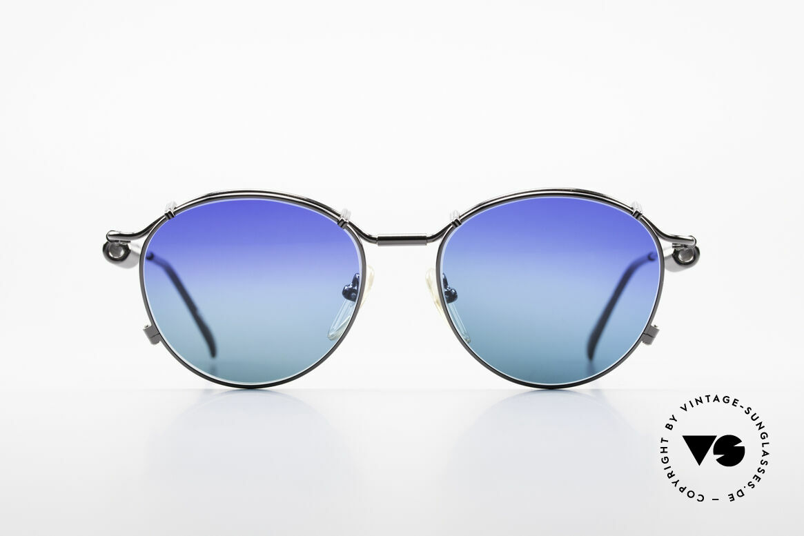 Jean Paul Gaultier 56-9174 Industrial 90's Sunglasses, mechanical industrial design (distinctive J.P.G.), Made for Men and Women