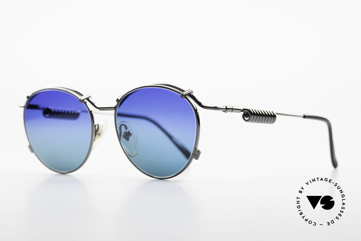 Jean Paul Gaultier 56-9174 Industrial 90's Sunglasses, the metal temples are shaped like current coil, Made for Men and Women