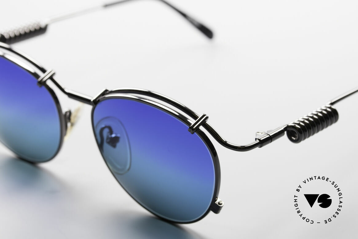 Jean Paul Gaultier 56-9174 Industrial 90's Sunglasses, with high-class 'gunmetal' frame finish + case, Made for Men and Women