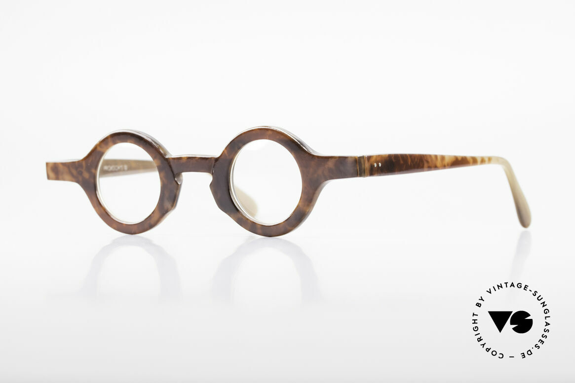 Proksch's P218 Buffalo Horn Round Frame, striking round horn eyeglass-frame by Proksch of the 80s, Made for Men and Women
