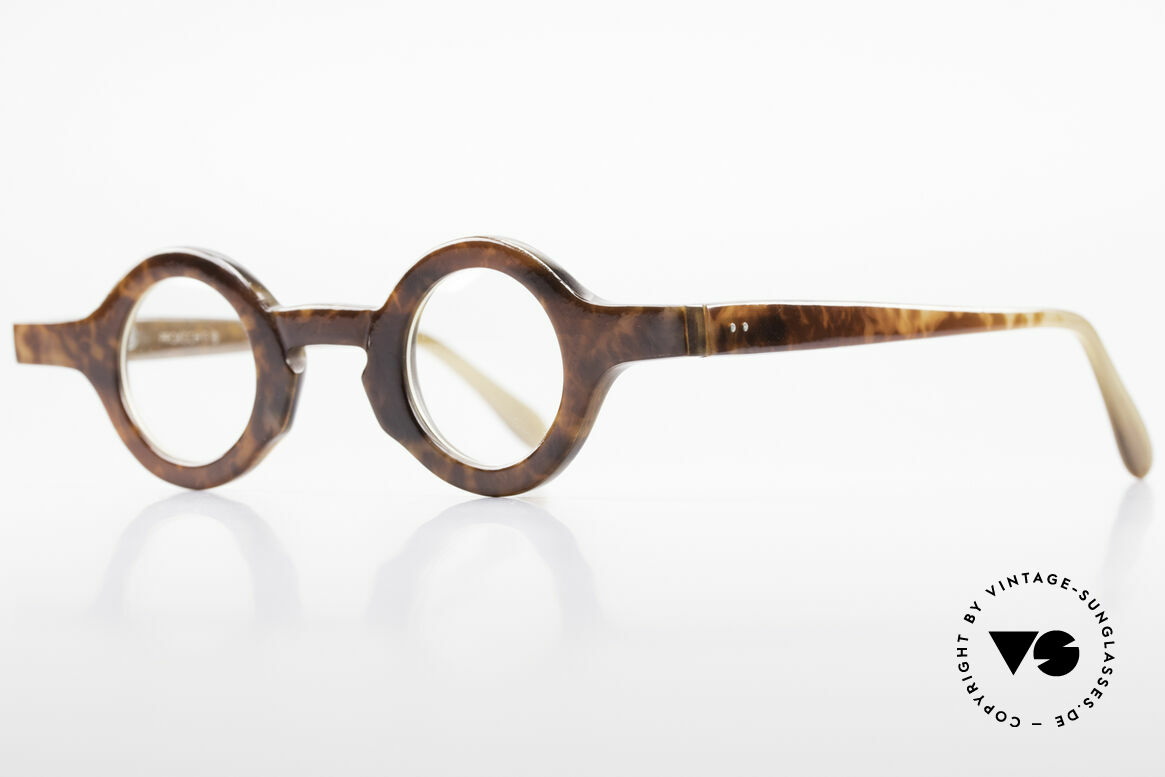 Proksch's P218 Buffalo Horn Round Frame, every horn model looks individual (pure natural material), Made for Men and Women