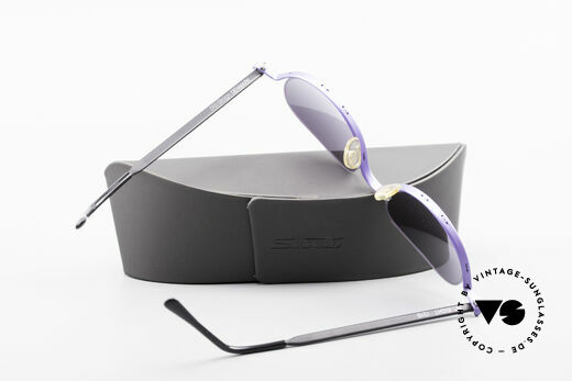 ProDesign No8 Gail Spence Design Sunglasses, gray-purple-gradient sun lenses and Silhouette case, Made for Women