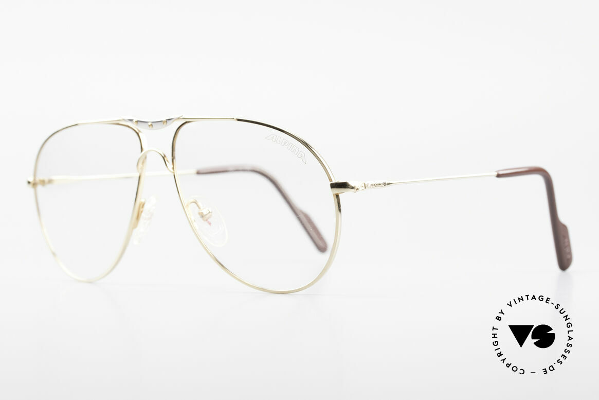 Alpina M1F751 Classic Aviator Eyeglasses, frame with distinctive ornamental screws by Alpina, Made for Men