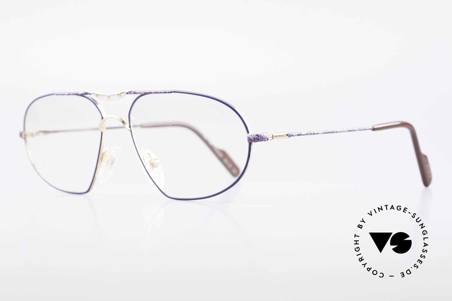 Alpina M1F755 Old Classic Men's Eyeglasses, gold-plated men's frame with a striking blue pattern, Made for Men