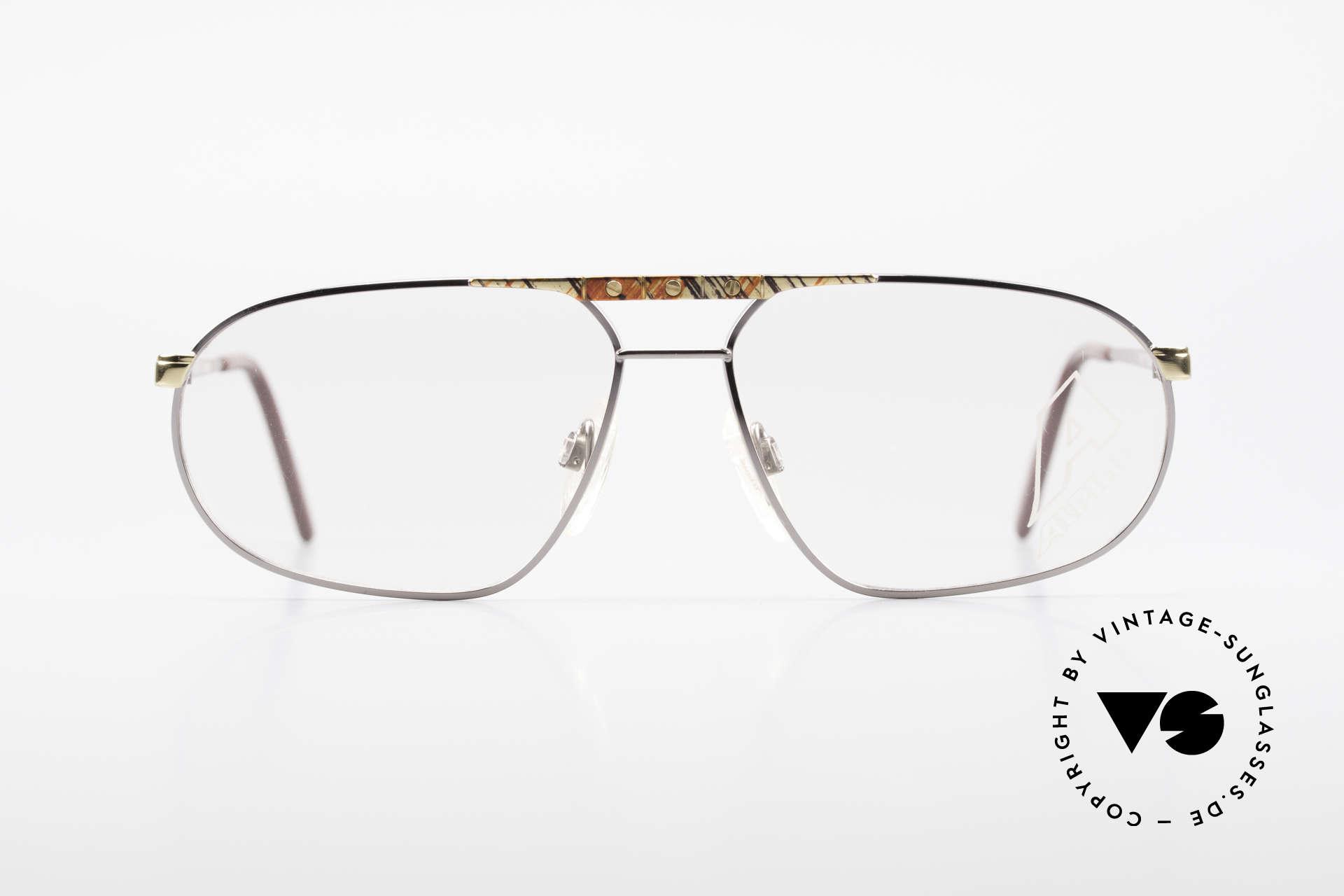 Alpina FM28 80's Designer Eyeglass-Frame, bicolor (gold-silver) frame & interesting pattern, Made for Men