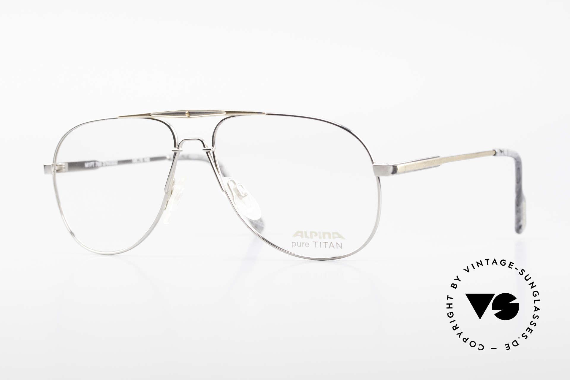Alpina M1FT Vintage Aviator Titan Frame, true vintage 1990's designer eyeglasses by ALPINA, Made for Men