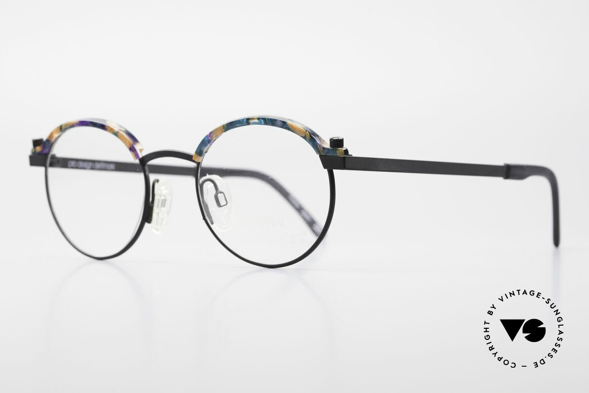 ProDesign Proswitch 4 Round Vintage Panto Glasses, appliqué: orange-blue mosaic marbled; see photos, Made for Men and Women