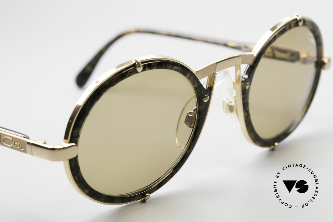 Cazal 644 Round 90's Cazal Sunglasses, unisex design with solid brown lenses (100% UV), Made for Men and Women