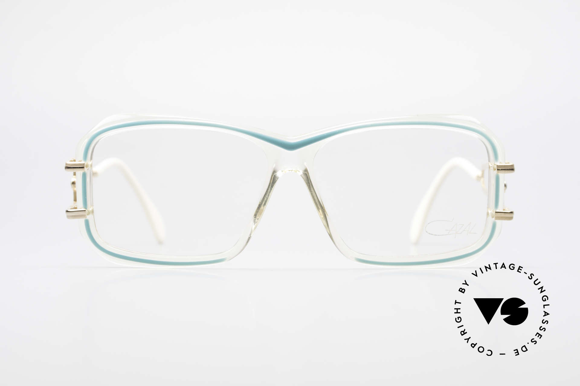 Cazal 173 Hip Hop Cazal 80's Glasses, clear synthetic frame with striking metal temples, Made for Women