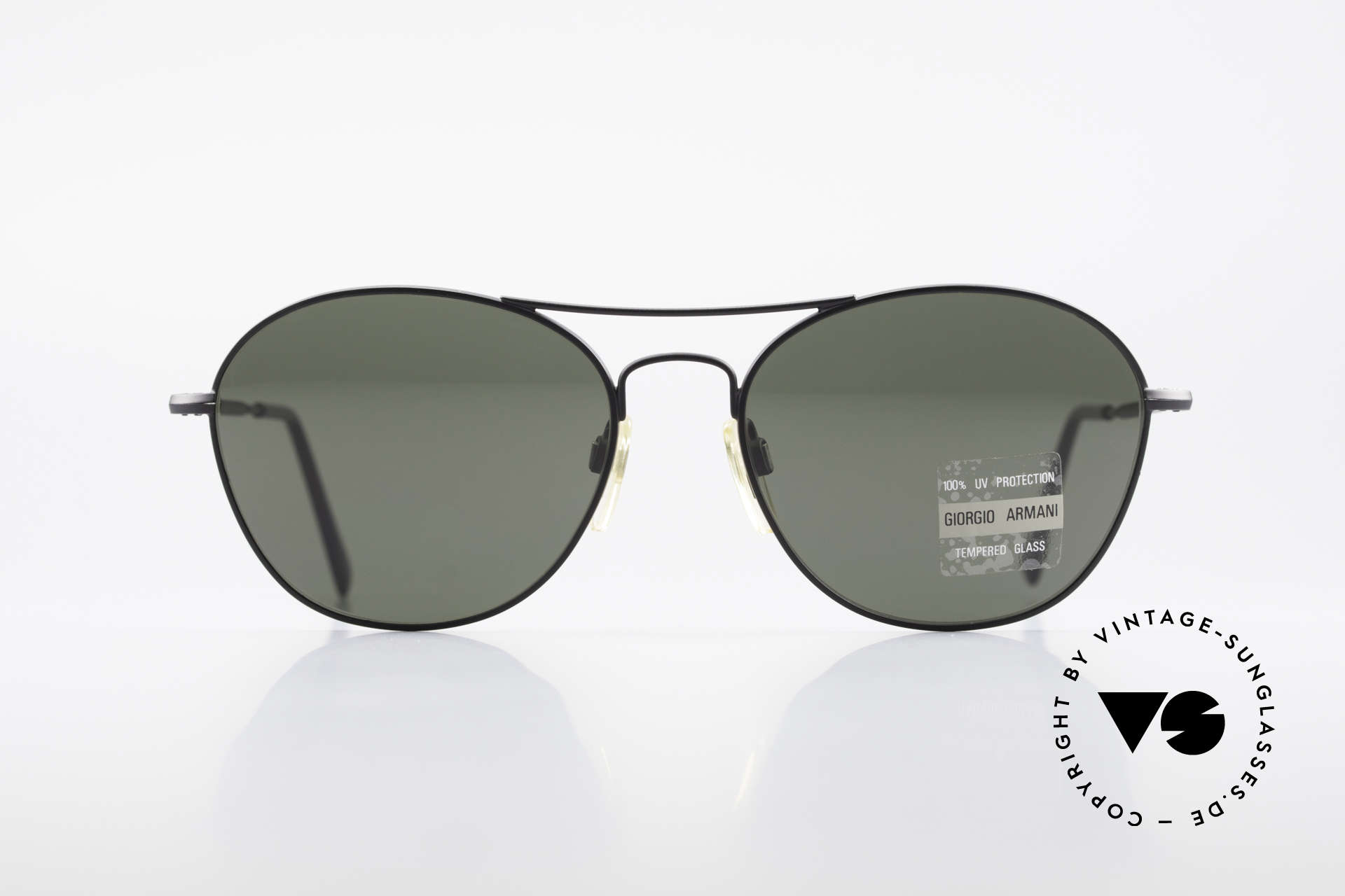Giorgio Armani 646 Aviator Style Designer Shades, discreet black framework and dark green lenses, Made for Men
