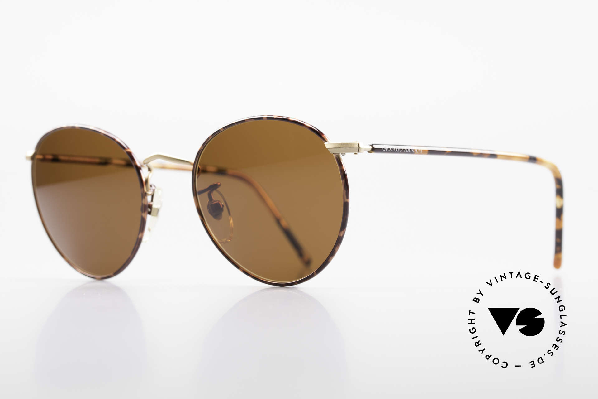 Giorgio Armani 138 Panto Vintage Sunglasses, noble 'chestnut brown/tortoise/gold' frame coloring, Made for Men