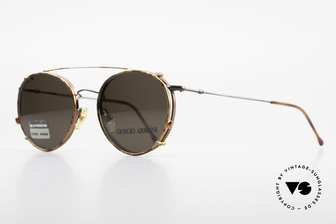 Giorgio Armani 253 Panto Vintage Frame Clip On, classic auburn frame with Clip-On in 'chestnut brown', Made for Men