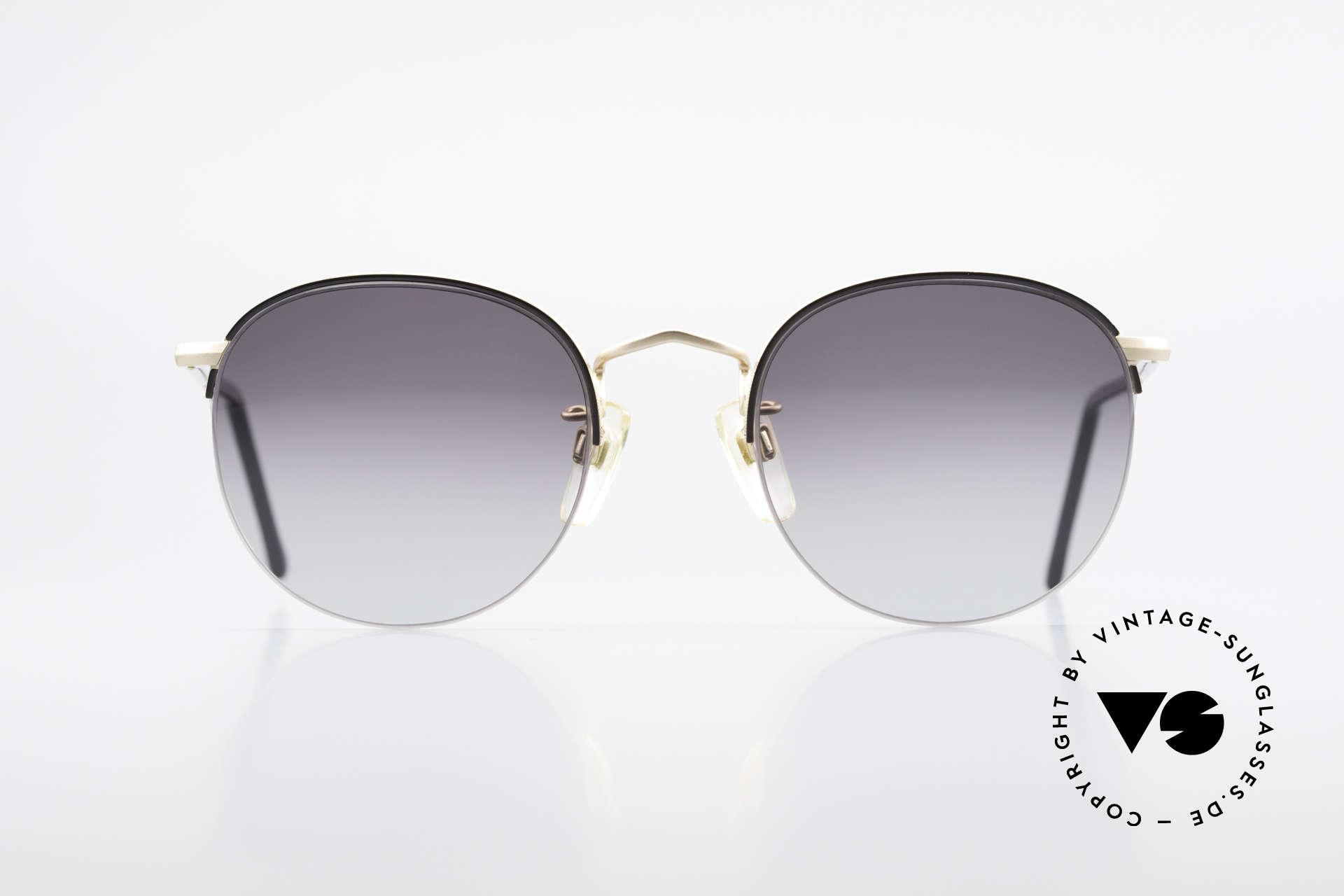 Giorgio Armani 142 Rimless Panto Sunglasses 80's, round 'panto design' with discreet elegant coloring, Made for Men